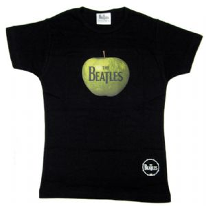 The Beatles Apple Design Black Ladies Fitted T-Shirt